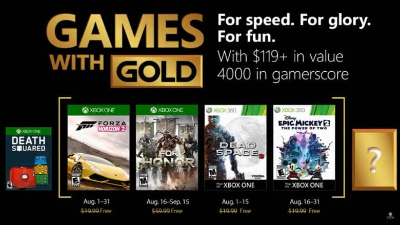 August Games with Gold Features Forza Horizon 2 and For Honor