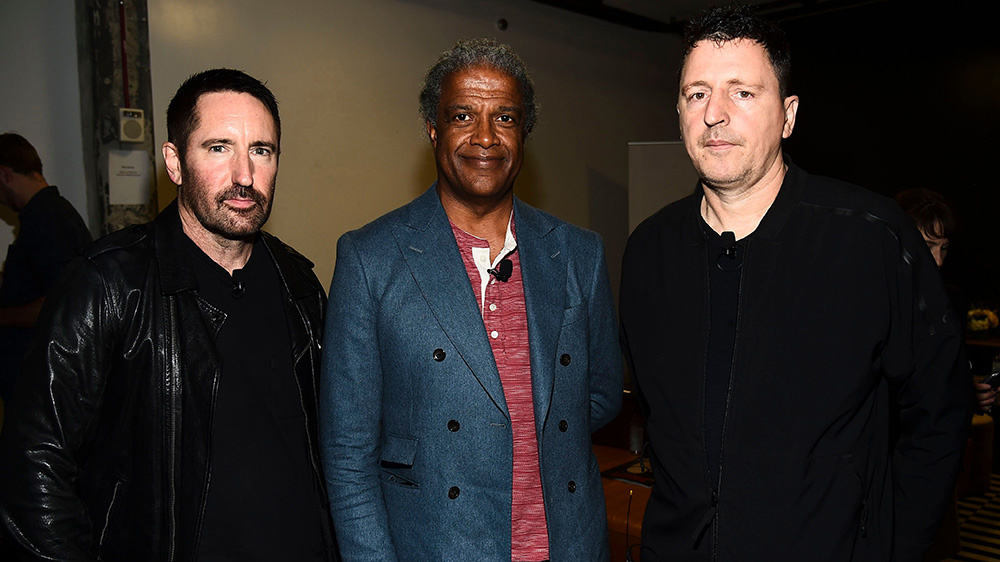 Trent Reznor, Elvis Mitchell and Atticus Ross at Variety's Music for Screens Summit at NeueHouse Hollywood on October 30, 2018.Variety Music for Screens summit, Los Angeles, USA - 30 Oct 2018