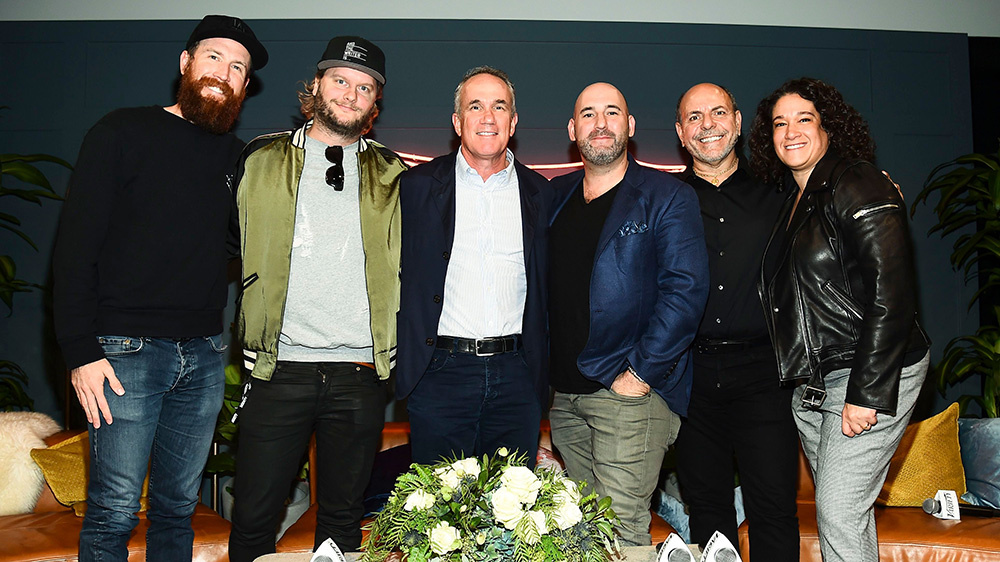 Kevin Bartel, Johan Carlsson, Tom Corson, James Diener, Michael Flutie and Jenn Levy at Variety's Music for Screens Summit at NeueHouse Hollywood on October 30, 2018.Variety Music for Screens summit, Los Angeles, USA - 30 Oct 2018